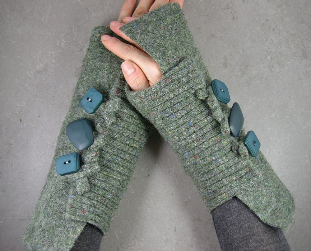 Fingerless mittens arm warmers in moss green recycled wool