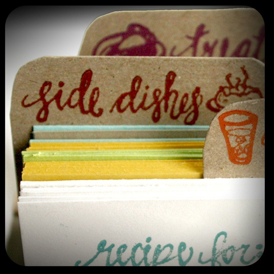 Etsy :: 1canoe2 :: Letterpress Recipe Cards and Recipe Box from etsy.com