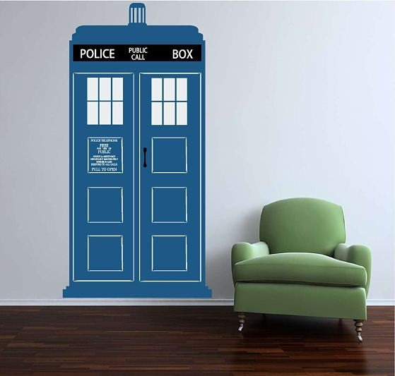 large tardis vinyl wall decal free shipping in the by vinyltastic