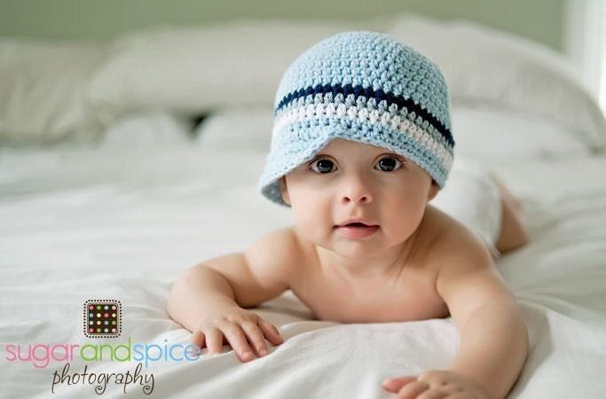 Newborn Baby Boy Visor Cap - baby blue, navy, gray, white, natural cotton, photo prop