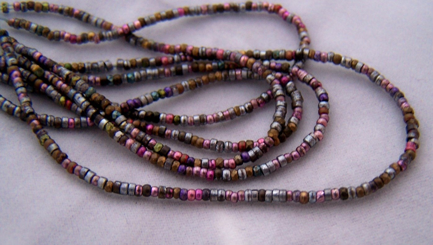 Antique French metal bead strand 20 inches Spring color mix blue pink purple gold