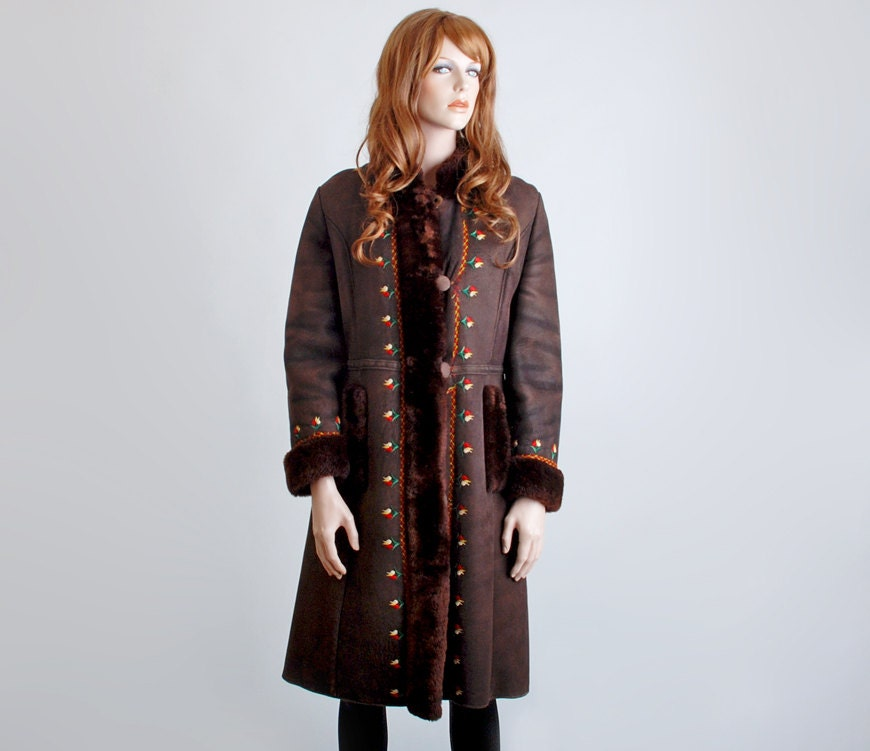 brown sheepskin genuine shearling coat from 1960s with embroidered flowers
