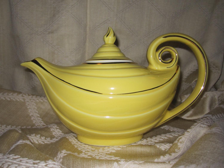 Teapot yellow hall aladdin style six cup by alvetavintageitems - Aladdin teapot ...