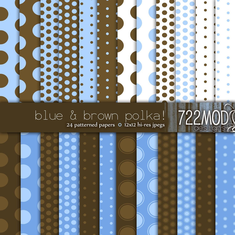 Blue and brown polka dots wallpaper