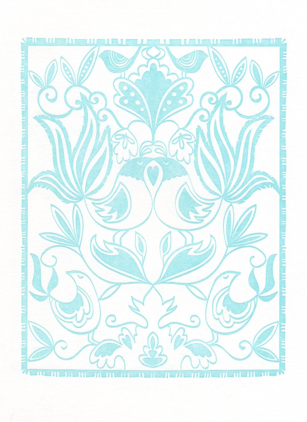 Light Blue Birds Wycinanki