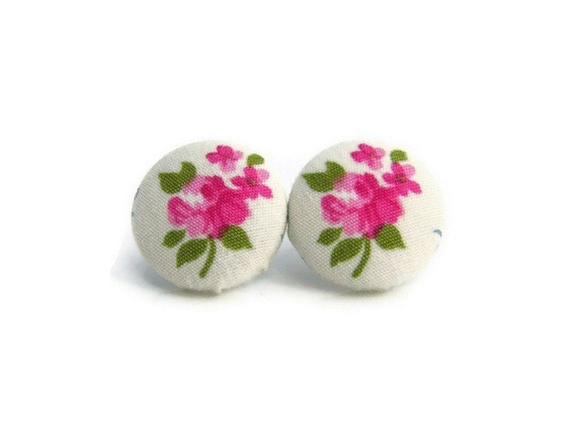 CLOSING SALE - Buttons Earrings, Fabric Buttons Earrings, Floral Earrings,Pink, White color , ready to ship - JoannaBizu