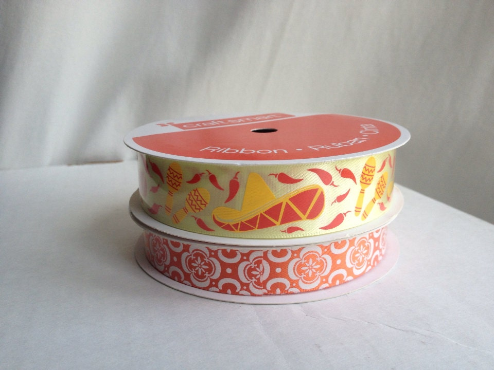Fiesta ribbons - polyester ribbons - 2 roll set - BeadEBoop