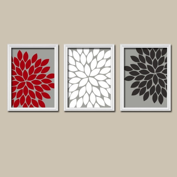 Red white black gray wall art canvas or prints by trmdesign for Black white red bathroom decor