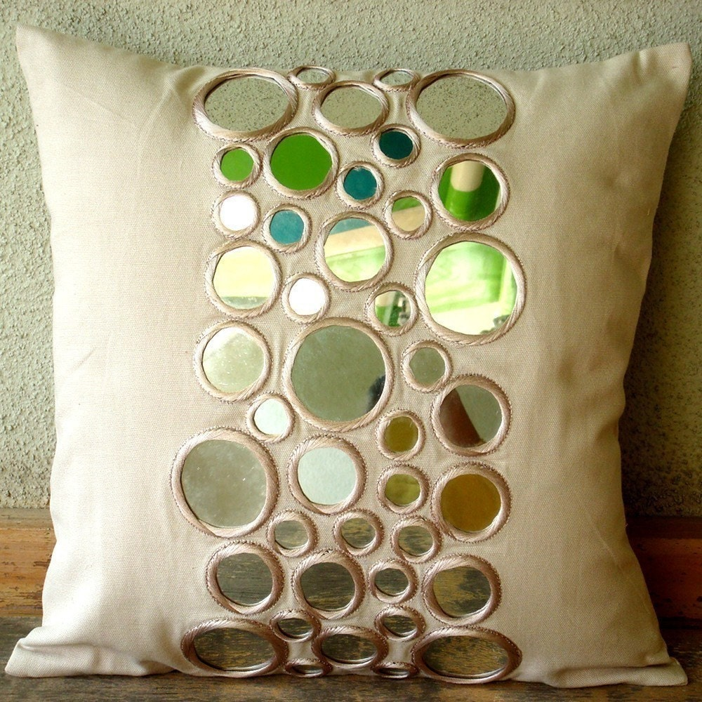 Reflectors - Throw Pillow Covers - 16x16 Inches Cotton Canvas Pillow Cover with Mirror Embroidery