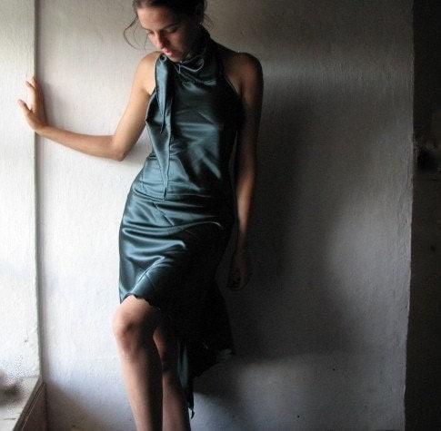Etsy :: larimeloom :: Teal swallowtail satin dress from etsy.com