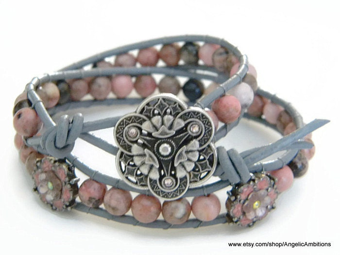 "Rhodonite Ladder Wrap Bracelet 15"" inch Double Wrap Bracelet Rhodonite and Flowered Beads Leather Bracelet - AngelicAmbitions"