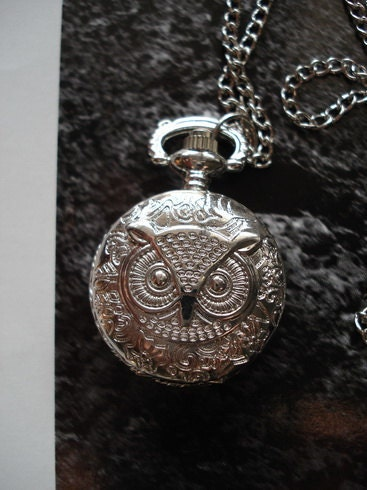 20% HOLIDAY SALE Necklace Pendant Silver Owl Pocket Watch quartz Gift Chain  C642
