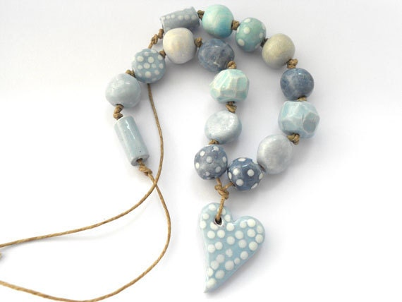 Ceramic Beaded Necklace in Soft Gray Blues