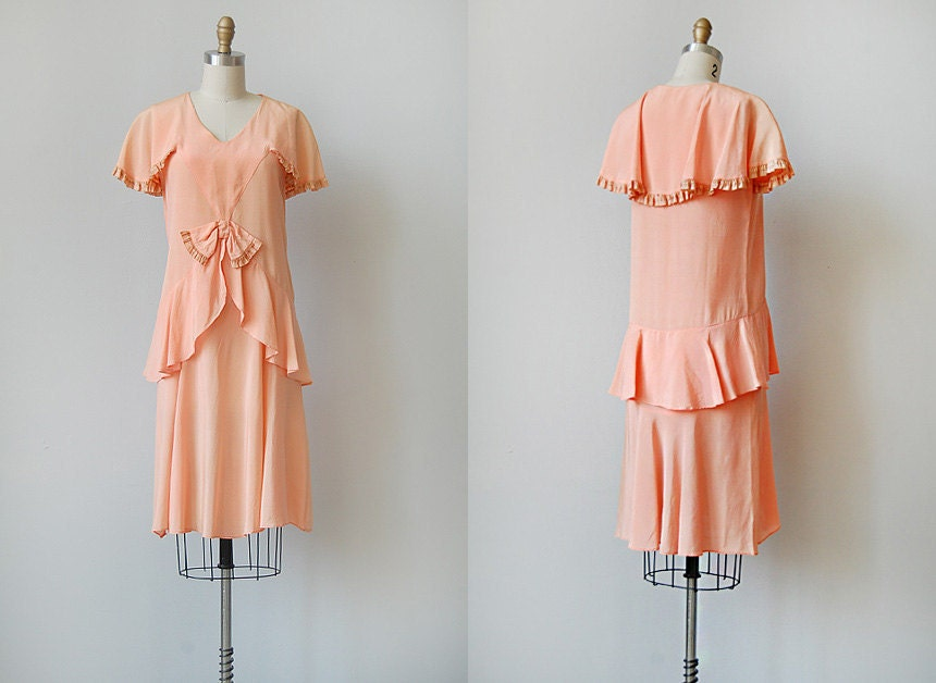 vintage 1920s peach flapper dress | FLEUR DE ORANGE DRESS