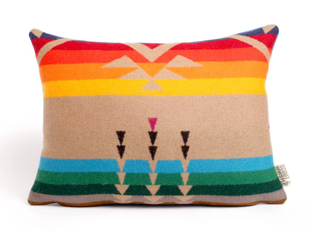 Geometric Wool Pillow // Rainbow Bird and Arrow - ScoutandWhistle