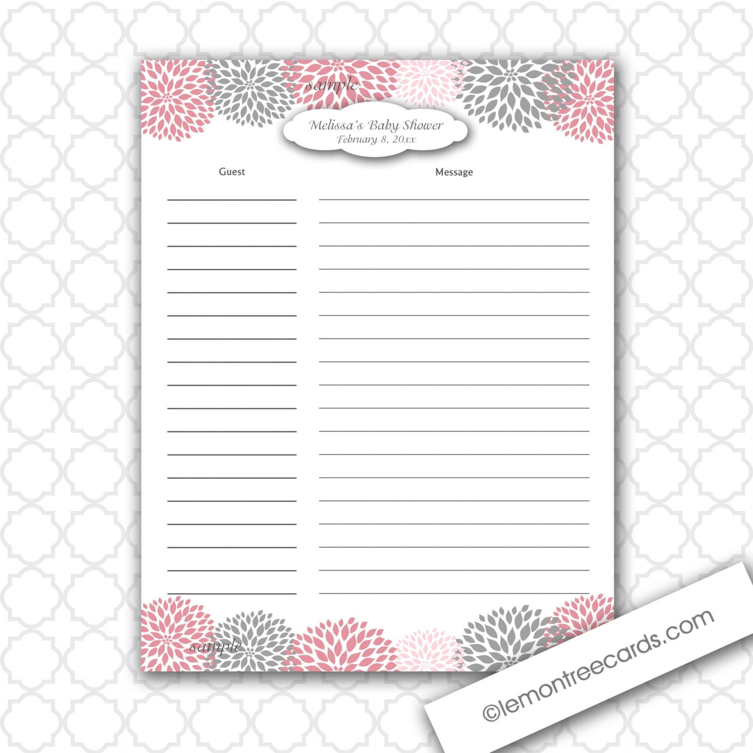 to dahlia baby or bridal shower guest sign in and baby advice sheet