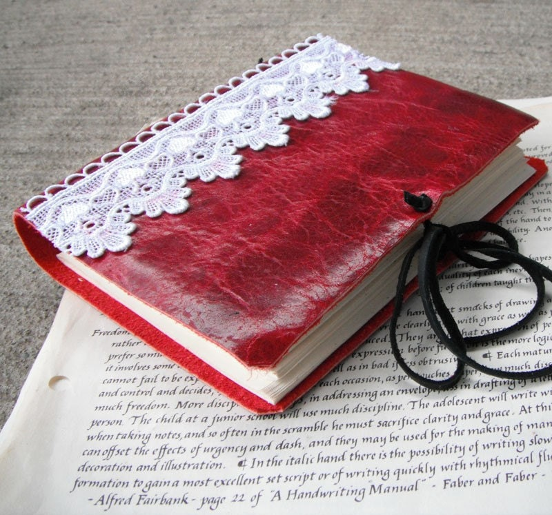 Crimson and Lace - red Italian leather journal with white lace and cream writing paper pages.