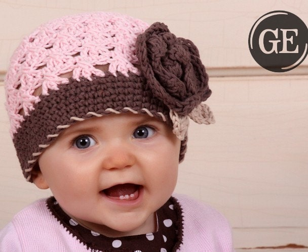 CROCHET PATTERN Crossed Cluster Beanie with Rose (5 Sizes Included: Newborn to Ladies) Permission to sell all finished items