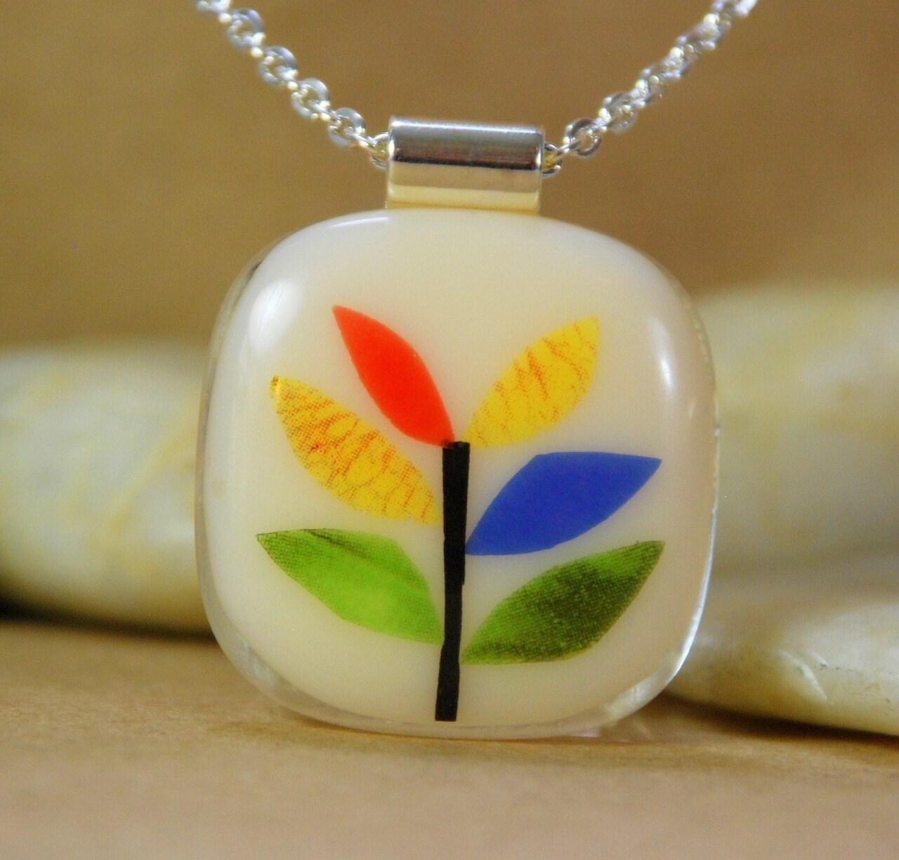 Tree  Collage Handmade Fused Glass Pendant