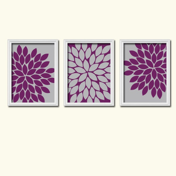 wall art canvas artwork grey eggplant purple flower by. Black Bedroom Furniture Sets. Home Design Ideas