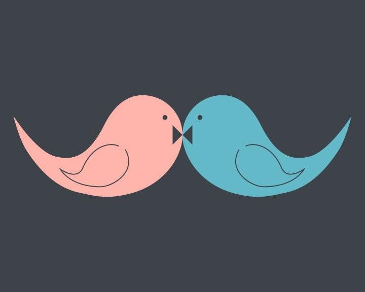 Love Birds Handlebar Mustache 13x19 Poster