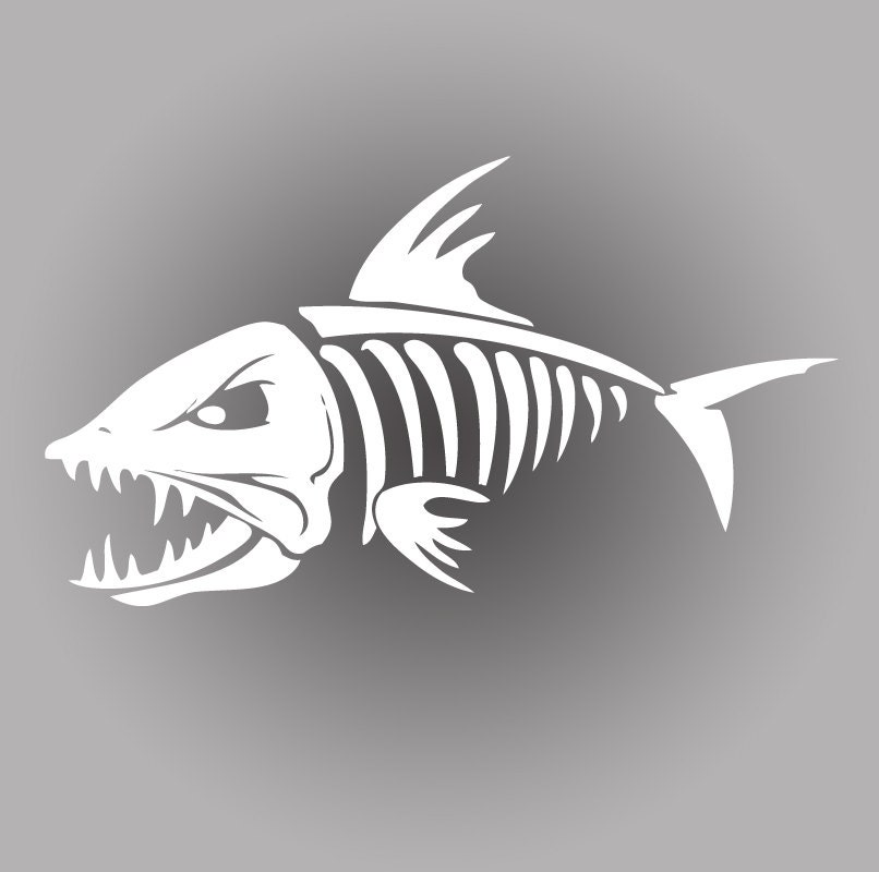 Death skeleton bonefish fishing decal sticker by amberrockstar for Fishing boat decals