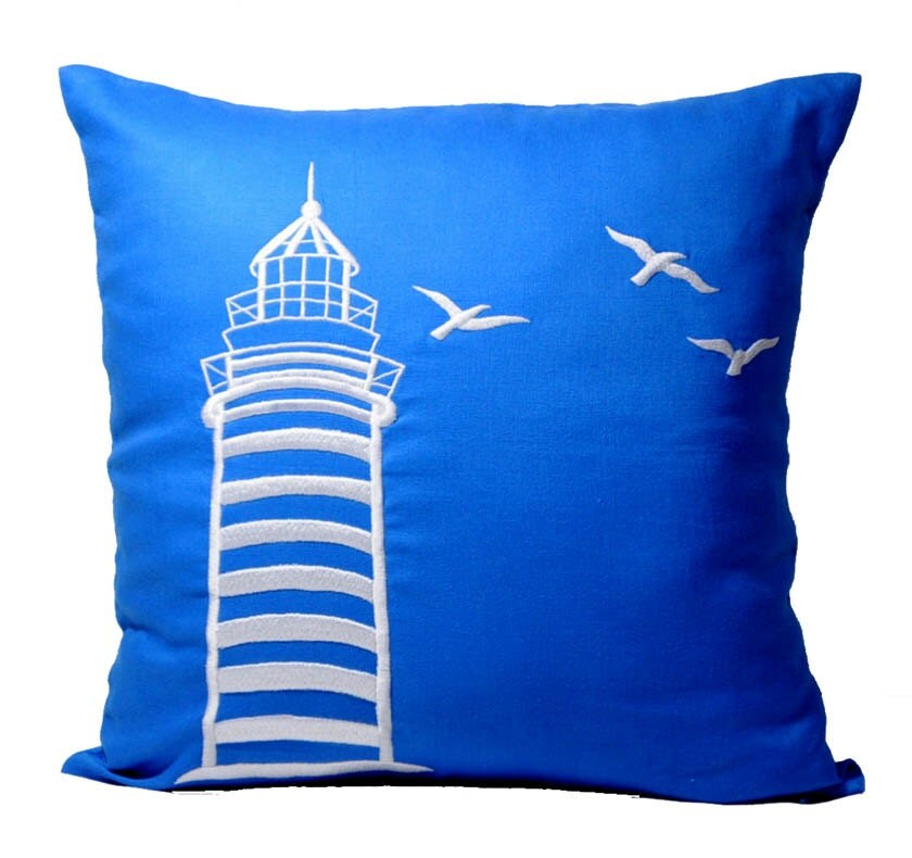 Throw Pillow Covers Nautical : Nautical Throw Pillow Cover Decorative Pillow Blue by KainKain