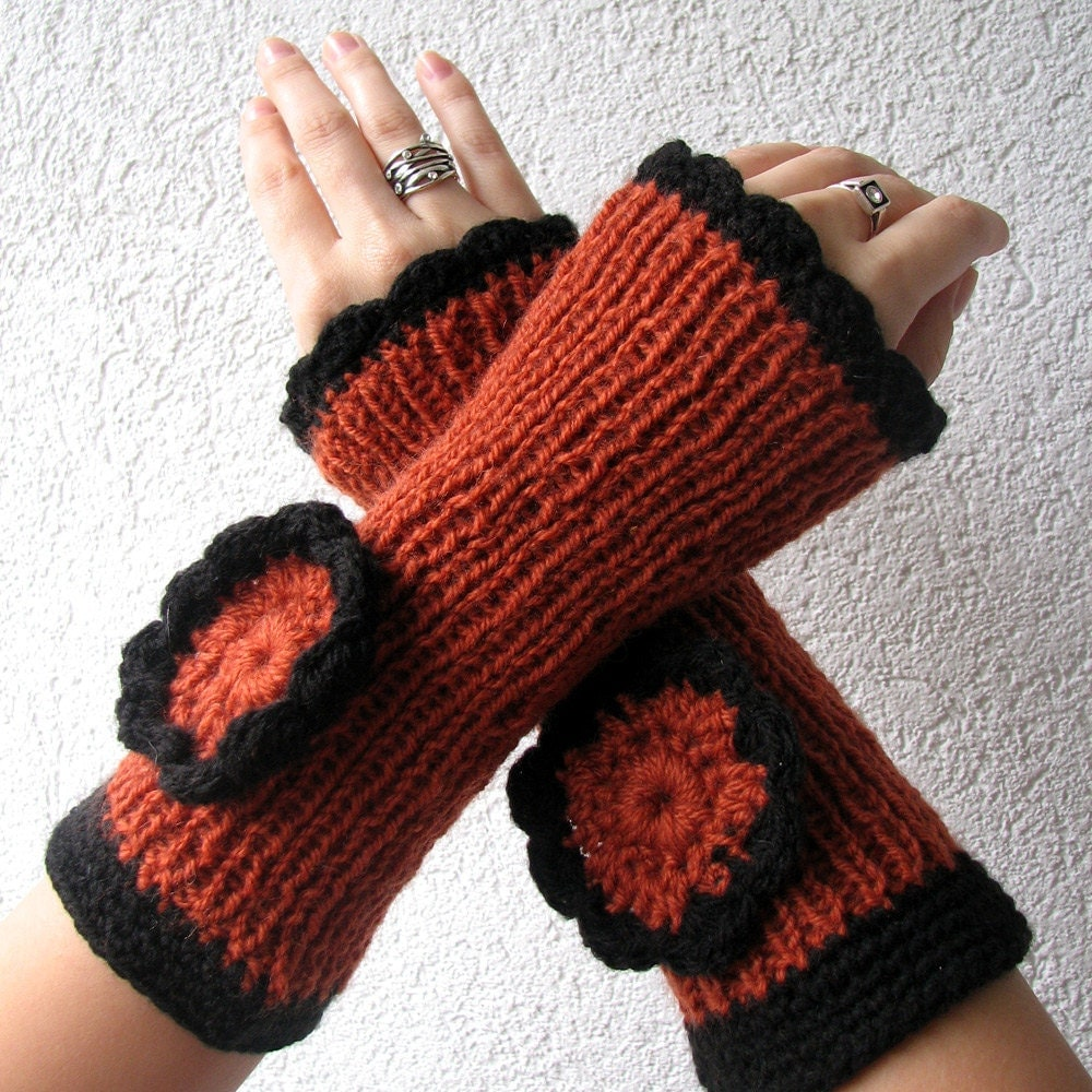 Fingerless Gloves Mittens - Hand knit, Gift for her - AlbadoFashion