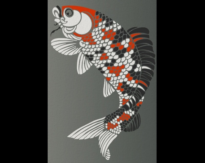 Wall stencil japanese koi fish large by oliveleafstencils for Koi fish stencil