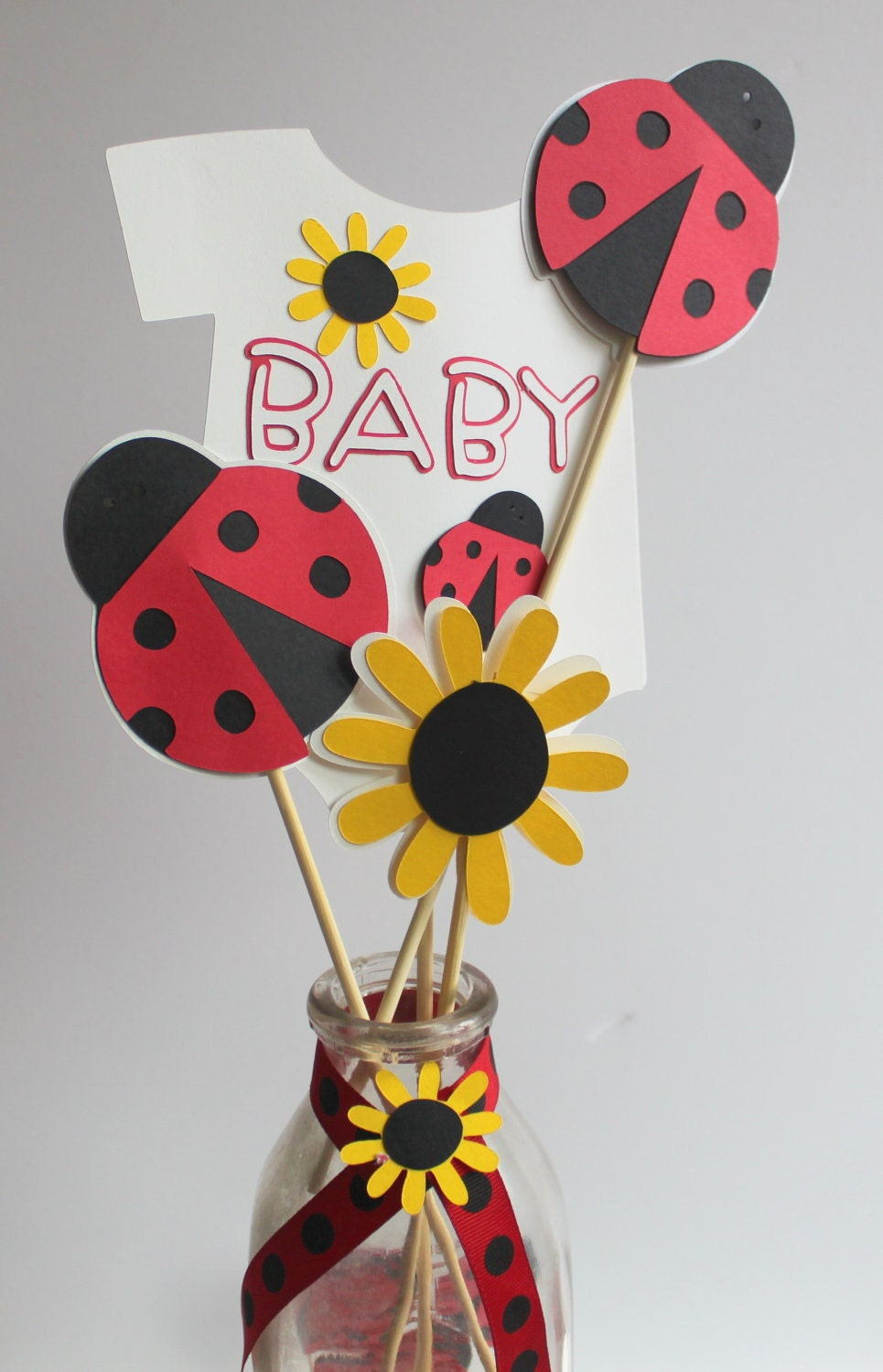 Lady bug baby shower centerpiece picks by calladoo on etsy