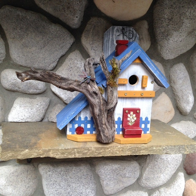 Decorative bird house whimsical outdoor by birdhousesbymichele for Decorative birds for outside