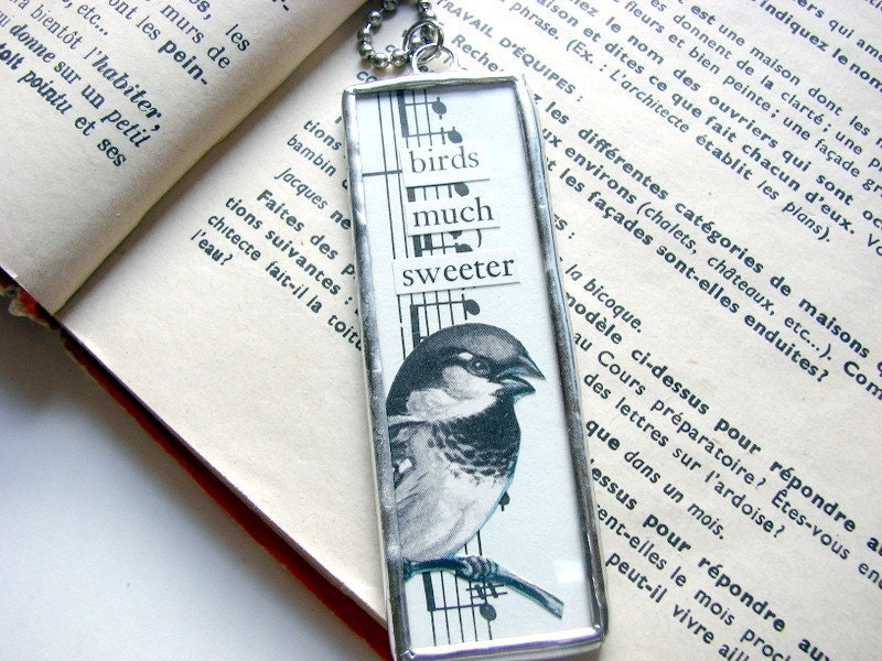 SALE- Birds Much Sweeter- A Big Soldered Glass Charm Pendant Necklace- Collage Bird Microscope Slide