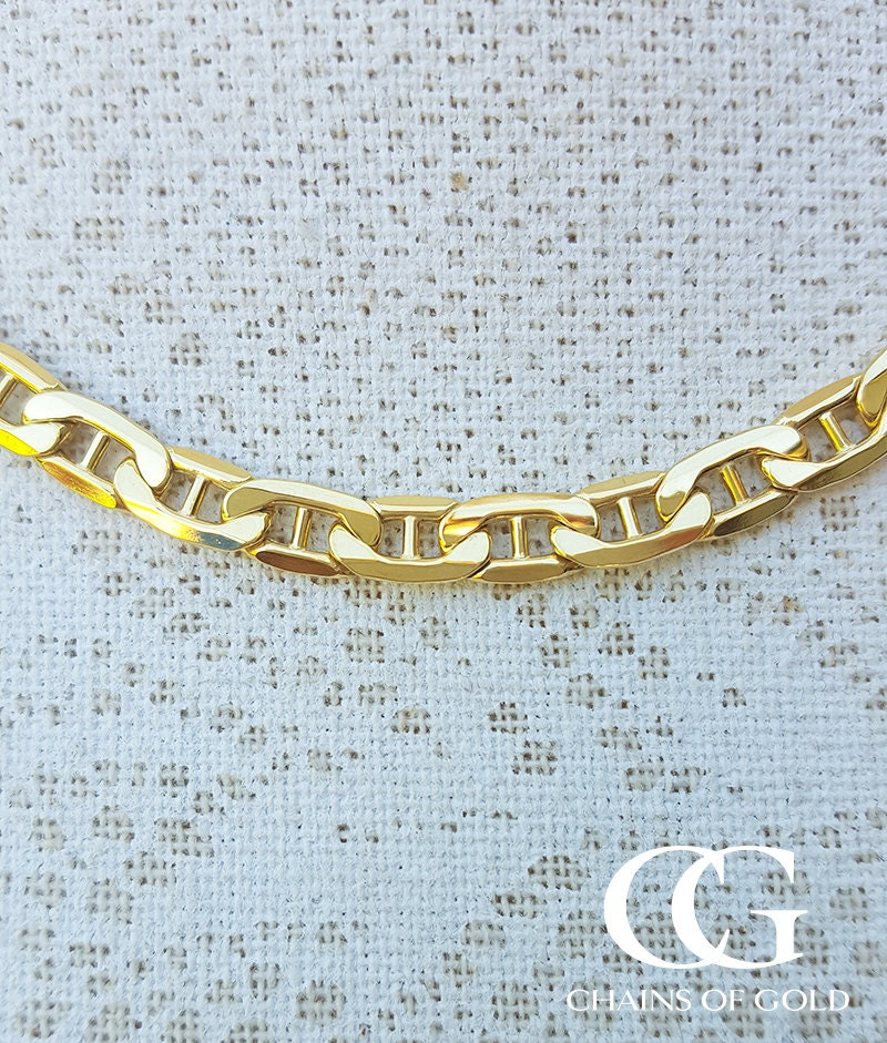 9ct Yellow Gold Diamond Cut Anchor Link 5.4mm Chain Necklace 20  22