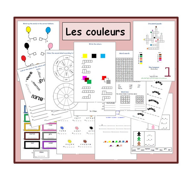 French Worksheets  Kids Learning Sheets  The colours  Kids Activities  Printable Kids Activity  Teachers Resource  Lesson Plans