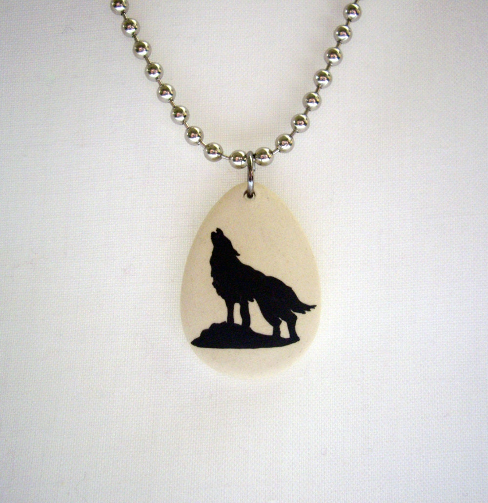s wolf necklace painted handmade by sanddunesboutique