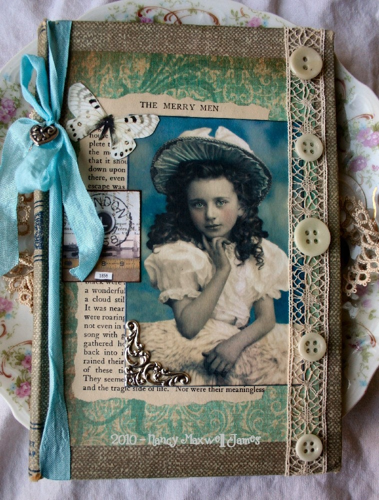 Little Miss Blue Skies Altered Collage Book Cover OOAK