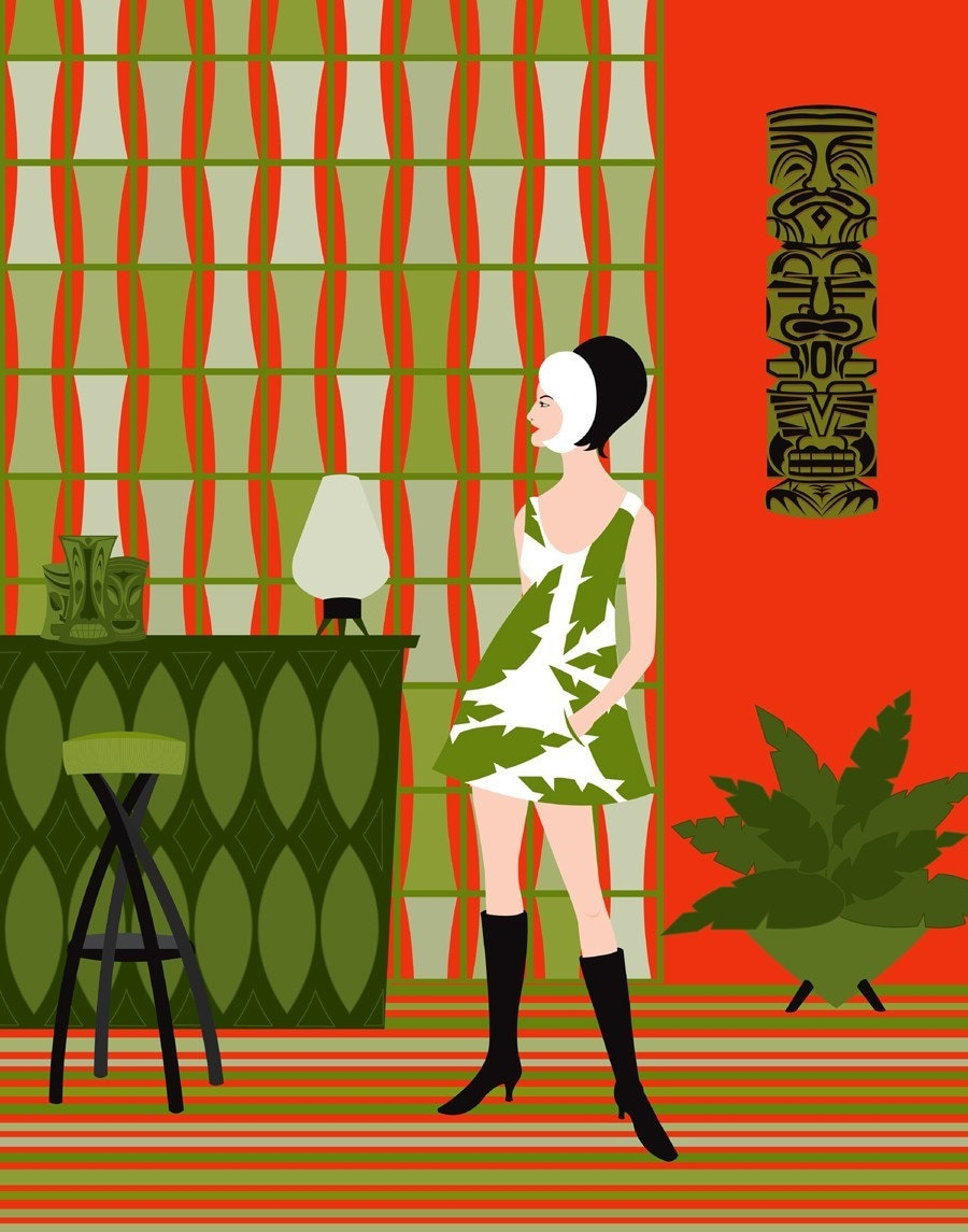 TIKI LOUNGE - NEW Giclee Print by Kerry Beary - MID CENTURY MODERN