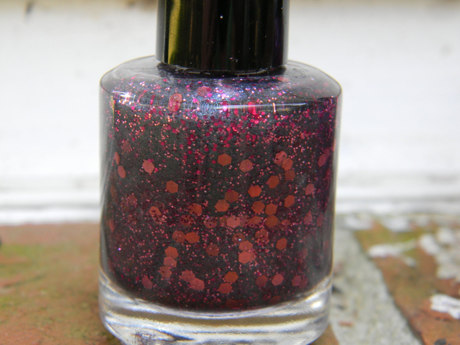 Guns & Roses - MINI Size Nail Polish: Deep blue/gray gunmetal shimmer polish with rose and berry sparkly glitter-7ML