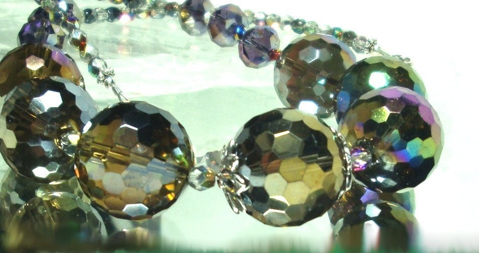 Golden Mystic Quartz Disco Ball Sparkly Necklace