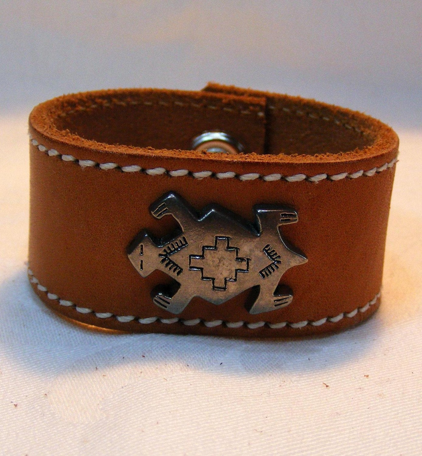 recycled leather belt turtle concho bracelet by