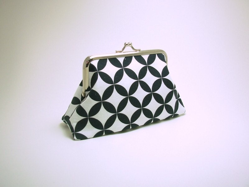 Medium  Clutch  Purse - Alexander Henry Diamond Eye in Black and White
