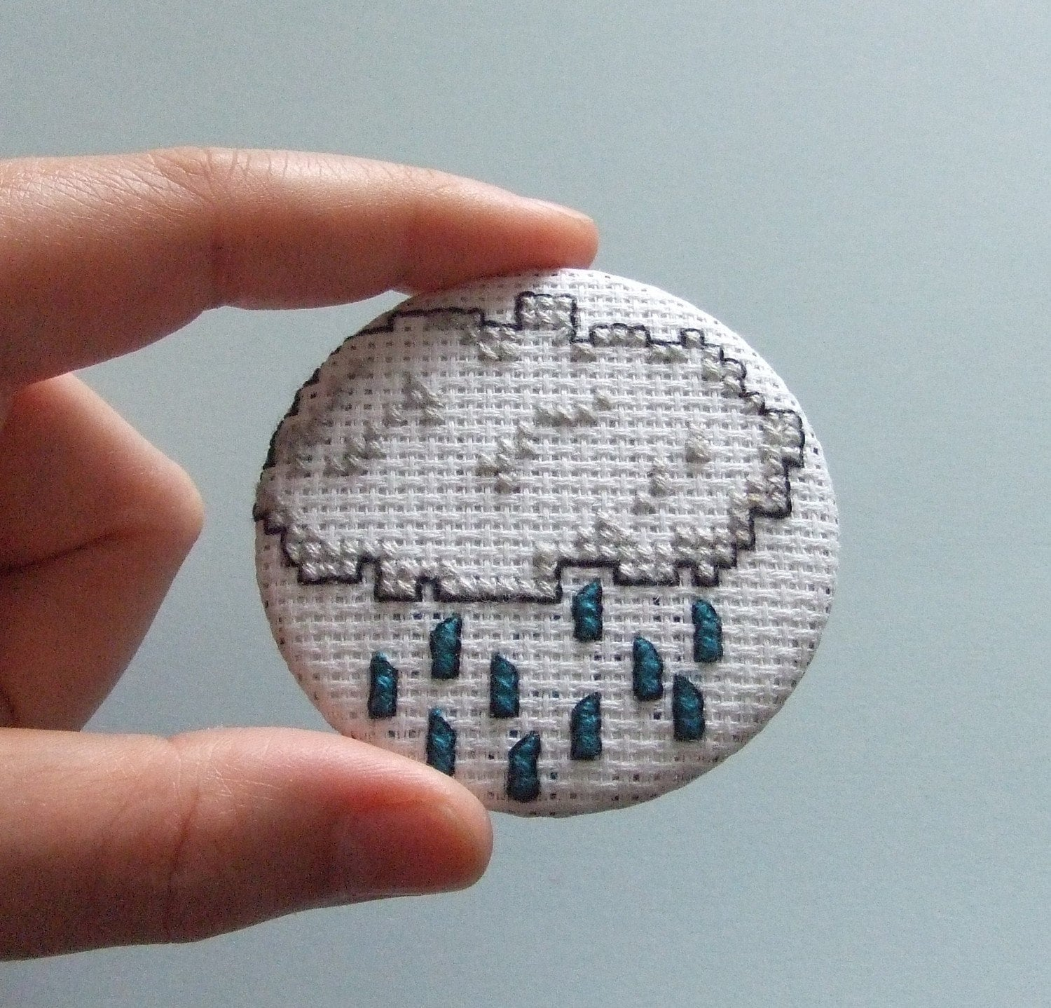 SALE Large Cross-Stitch RAIN CLOUD Button Badge