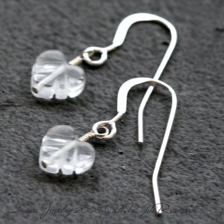Little Crystal Quartz Leaf Earrings ed474 by lavajewelry on Etsy from etsy.com