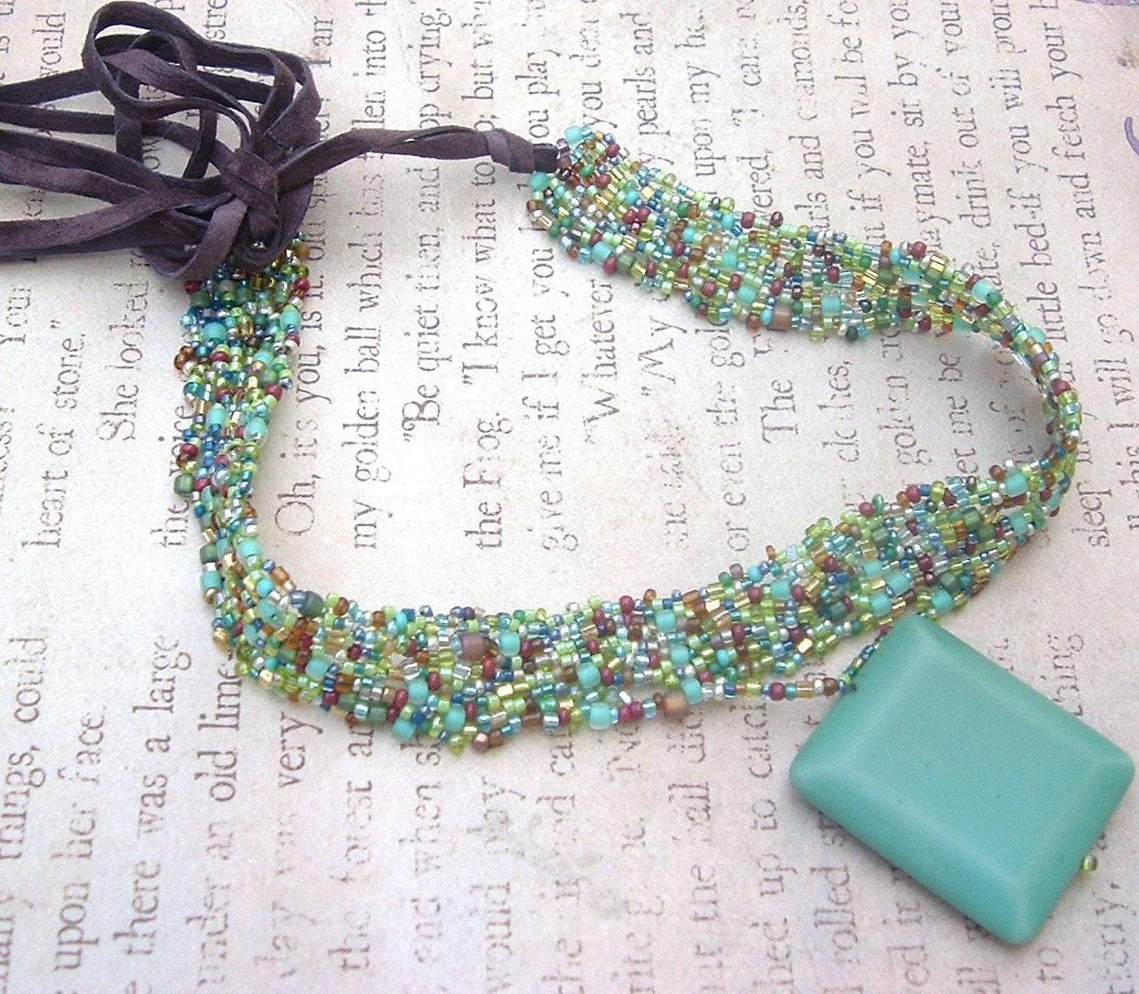 Turquoise and Jewel Tone Beaded Choker