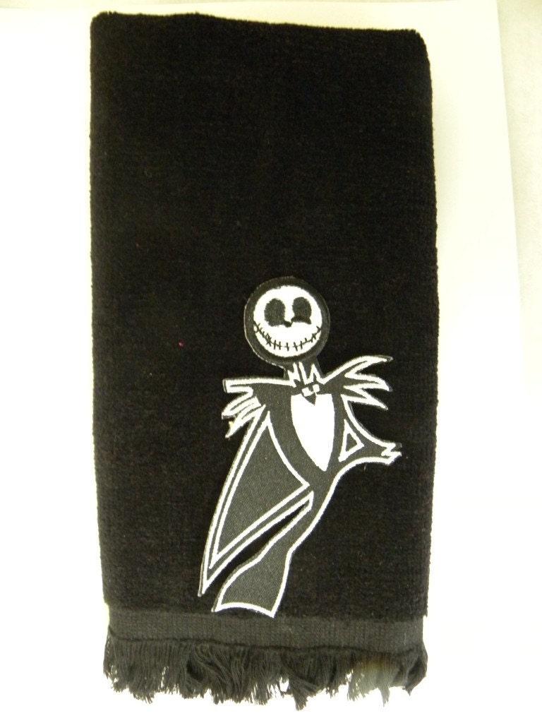 jack skellington hand bath towel nightmare before by stuckonewe. Black Bedroom Furniture Sets. Home Design Ideas