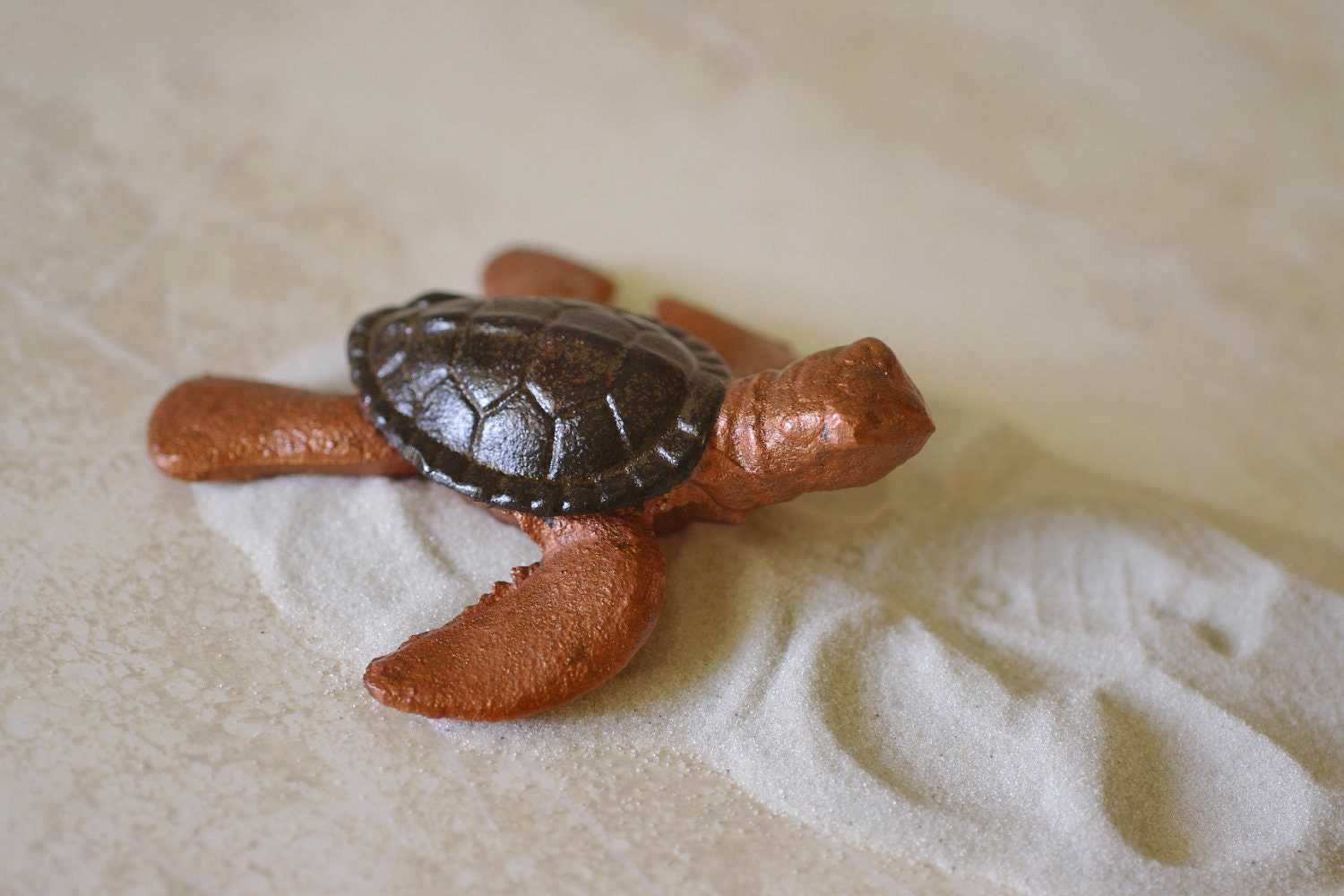 Beach Decor Cast Iron Baby Sea Turtle - Bronze and Brown