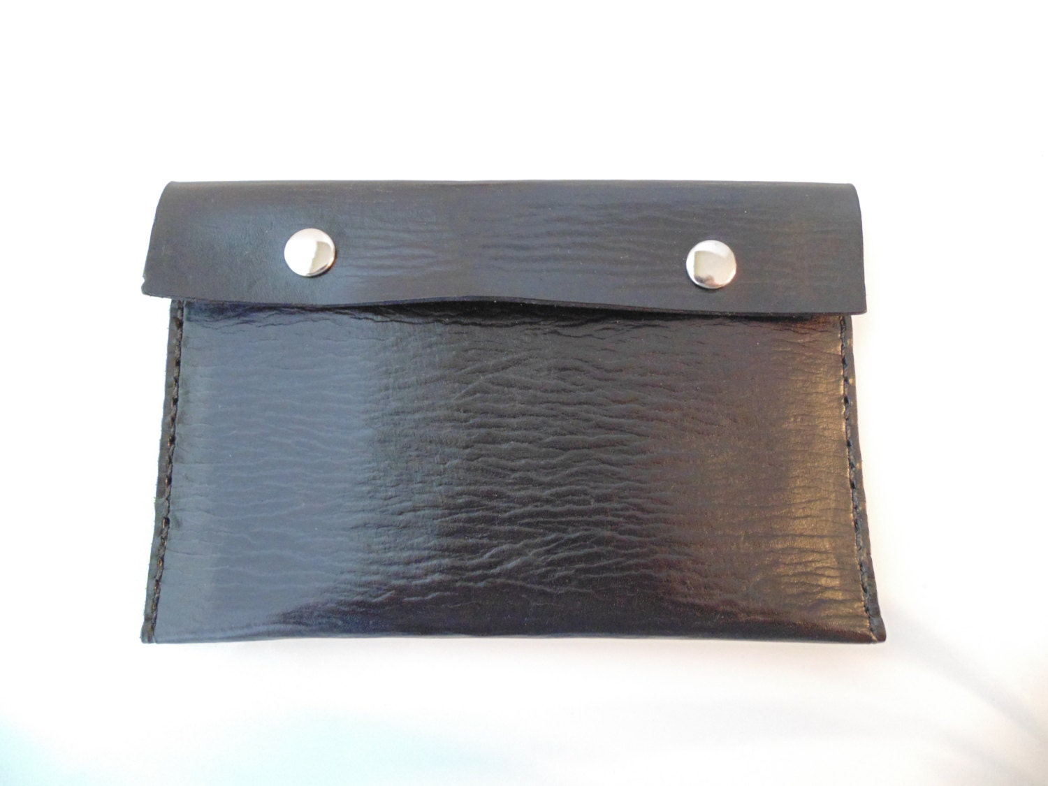 Black leather pouch, clutch wallet for men or women, double snap closure - McCartyCustomLeather