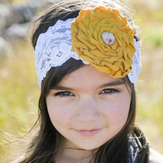 RUTH - Mustard yellow and cream lace rose headband