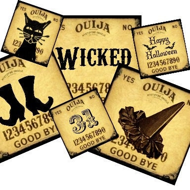 Ouija Board Halloween 2x2 and 1x1 Vintage Collage - tags magnets key chains glass jewelry pendants - U Print 300dpi jpg