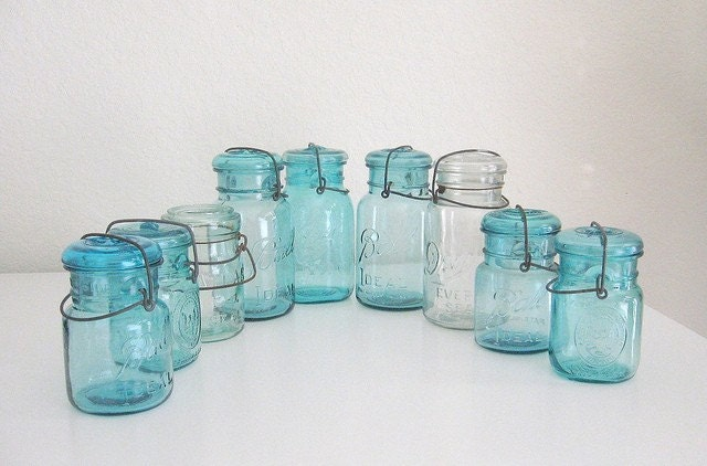 9 vintage mason jars - instant collection